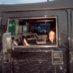 Angie driving a HUMMER H1